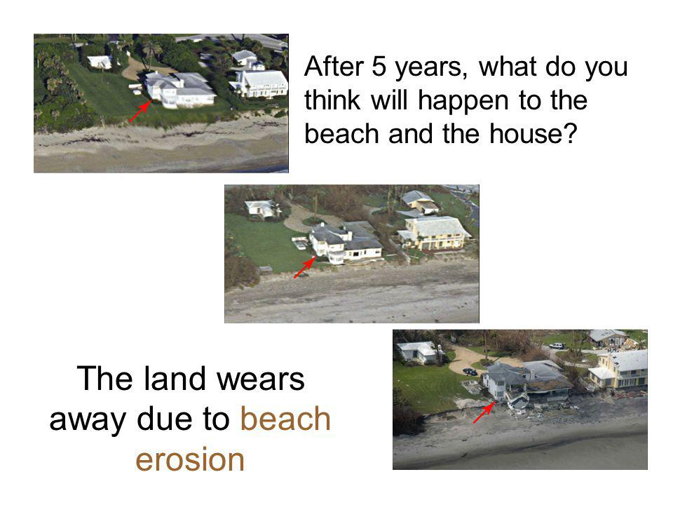 After 5 years, what do you think will happen to the beach and the house? The land wears away due to beach erosion