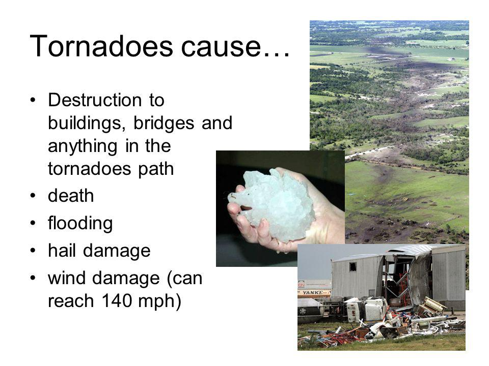 Tornadoes cause… Destruction to buildings, bridges and anything in the tornadoes path death flooding hail damage wind damage (can reach 140 mph)