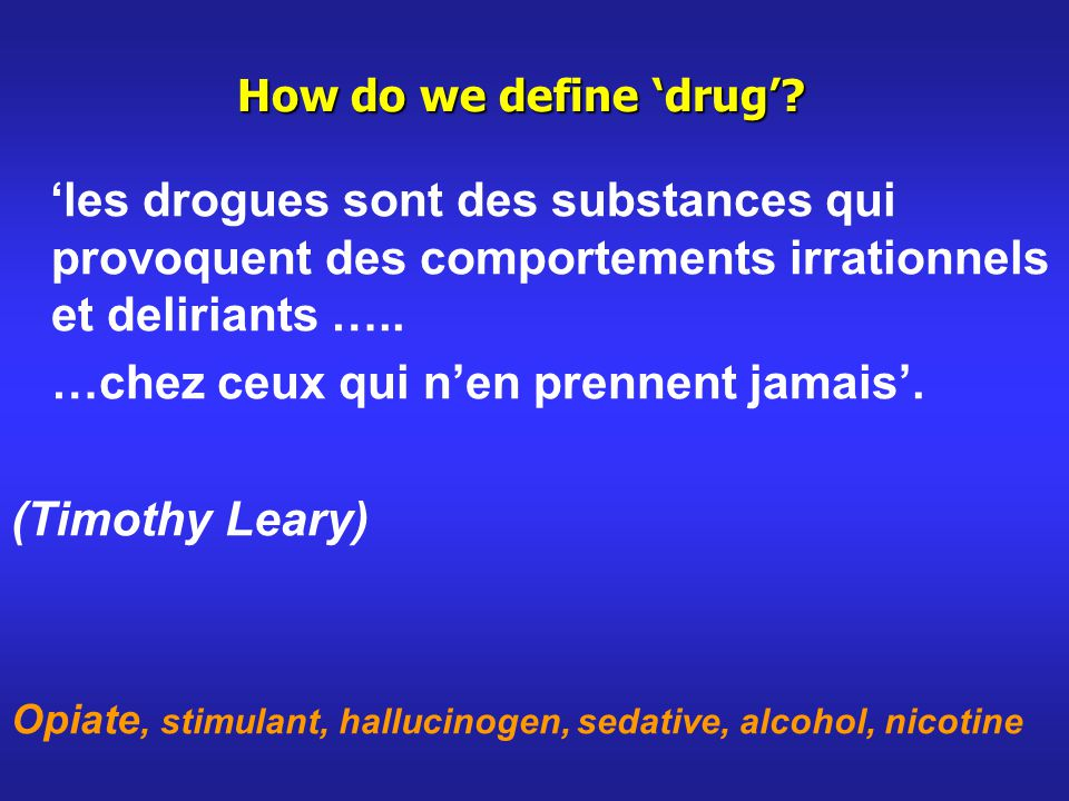 How do we define drug.