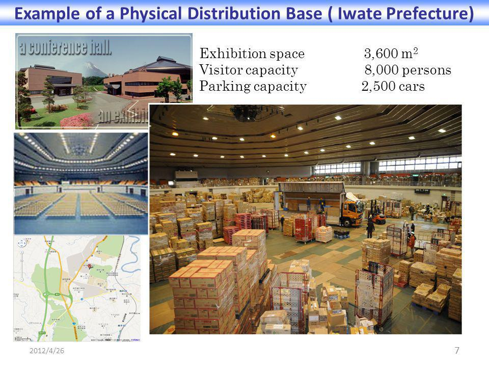 Exhibition space 3,600 m 2 Visitor capacity 8,000 persons Parking capacity 2,500 cars 7 Example of a Physical Distribution Base ( Iwate Prefecture) 2012/4/26