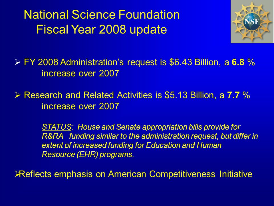 FY 2008 Administrations request is $6.43 Billion, a 6.8 % increase over 2007 Research and Related Activities is $5.13 Billion, a 7.7 % increase over 2007 STATUS: House and Senate appropriation bills provide for R&RA funding similar to the administration request, but differ in extent of increased funding for Education and Human Resource (EHR) programs.