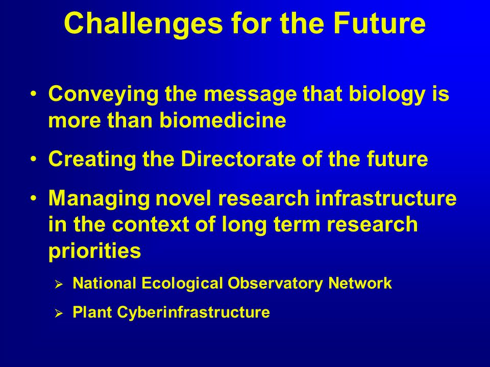 Challenges for the Future Conveying the message that biology is more than biomedicine Creating the Directorate of the future Managing novel research i