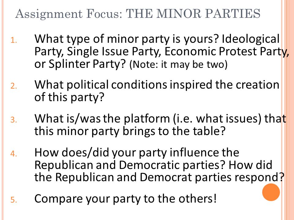 Assignment Focus: THE MINOR PARTIES 1. What type of minor party is yours? Ideological Party, Single Issue Party, Economic Protest Party, or Splinter P