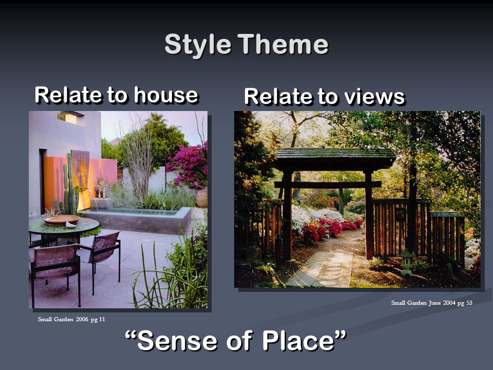 Style Theme Relate to views Relate to house Sense of Place Small Garden 2006 pg 11 Small Garden June 2004 pg 53