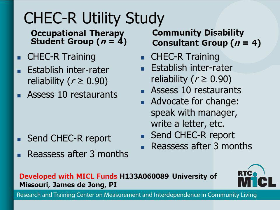 CHEC-R Utility Study Occupational Therapy Student Group (n = 4) Community Disability Consultant Group (n = 4) CHEC-R Training Establish inter-rater re
