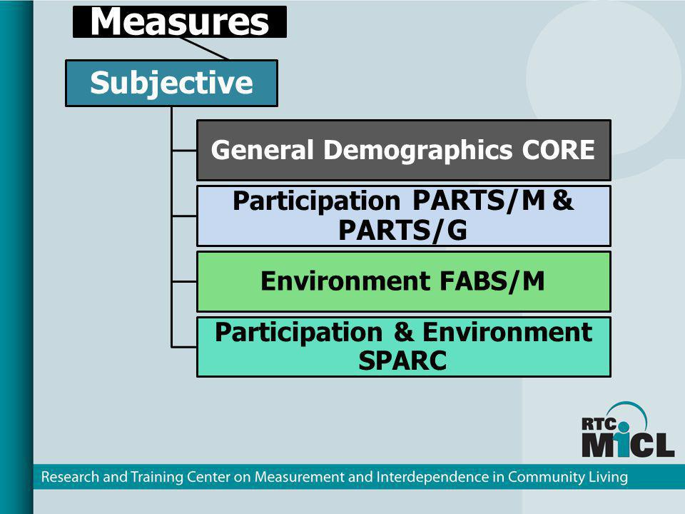 Measures Subjective General Demographics CORE Participation PARTS/M & PARTS/G Environment FABS/M Participation & Environment SPARC