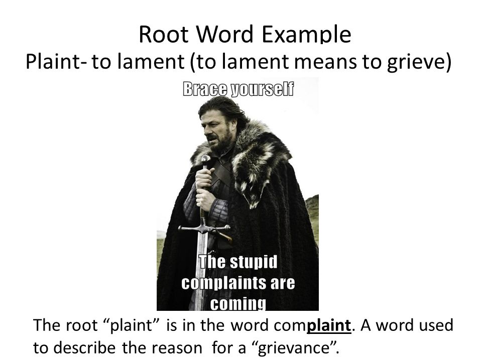 Root Word Example The root plaint is in the word complaint.