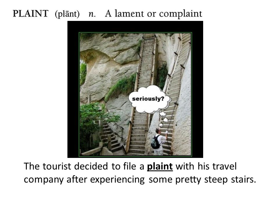 The tourist decided to file a plaint with his travel company after experiencing some pretty steep stairs.