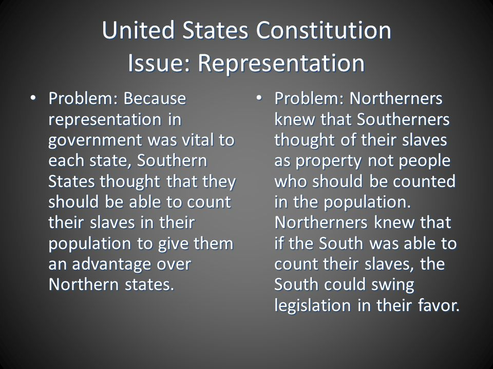 United States Constitution Issue: Representation Problem: Because representation in government was vital to each state, Southern States thought that t
