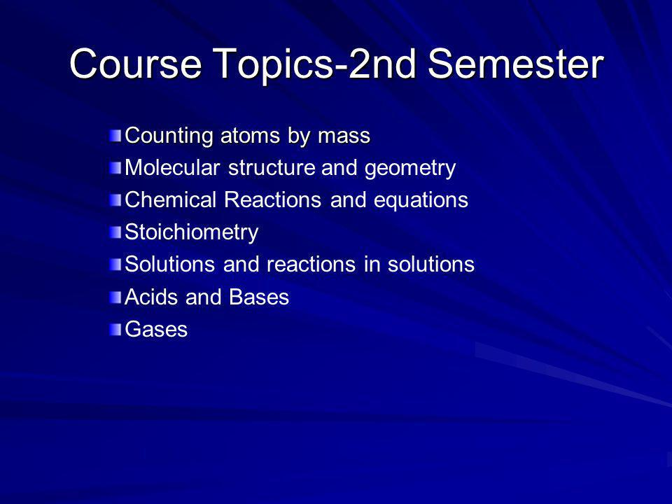 Course Topics-2nd Semester Counting atoms by mass Molecular structure and geometry Chemical Reactions and equations Stoichiometry Solutions and reacti