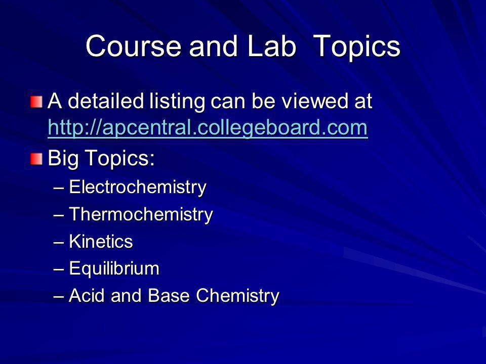 Course and Lab Topics A detailed listing can be viewed at http://apcentral.collegeboard.com http://apcentral.collegeboard.com Big Topics: –Electrochemistry –Thermochemistry –Kinetics –Equilibrium –Acid and Base Chemistry