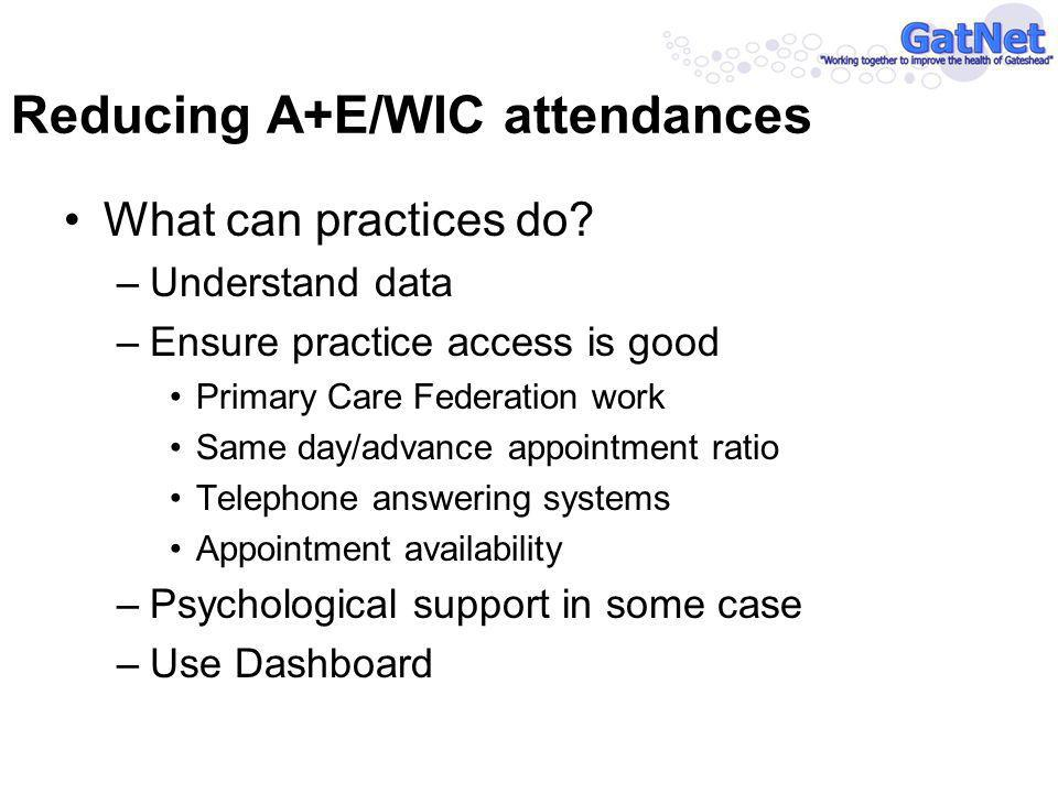 Reducing A+E/WIC attendances What can practices do.