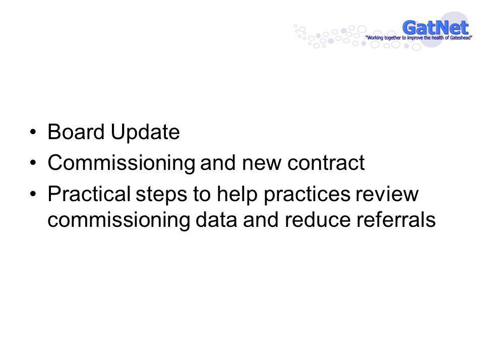 Board Update Commissioning and new contract Practical steps to help practices review commissioning data and reduce referrals
