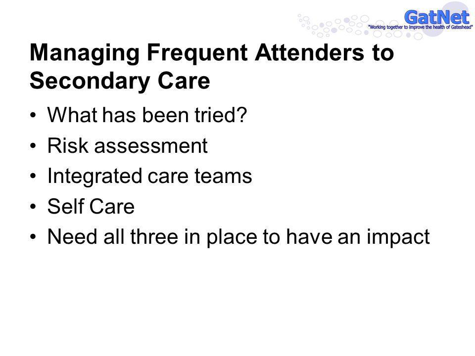 Managing Frequent Attenders to Secondary Care What has been tried.