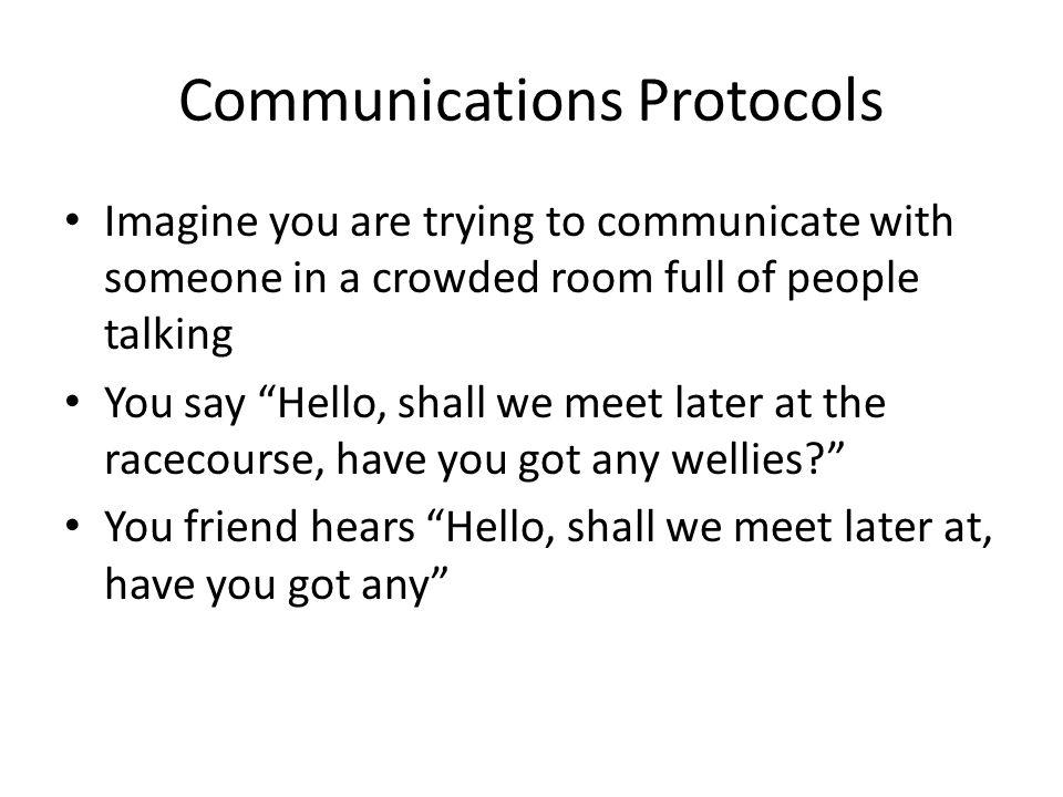 Communications Protocols Imagine you are trying to communicate with someone in a crowded room full of people talking You say Hello, shall we meet late
