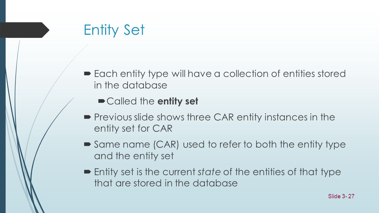 Slide 3- 27 Entity Set Each entity type will have a collection of entities stored in the database Called the entity set Previous slide shows three CAR
