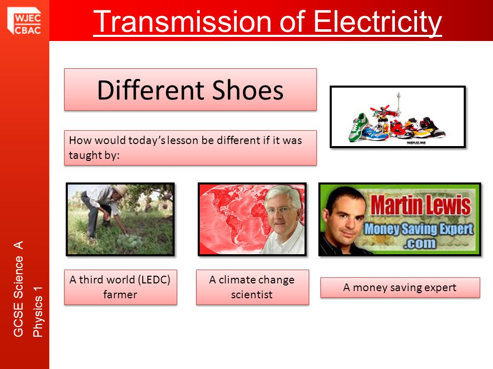 GCSE Science A Physics 1 Transmission of Electricity Different Shoes How would todays lesson be different if it was taught by: A third world (LEDC) fa