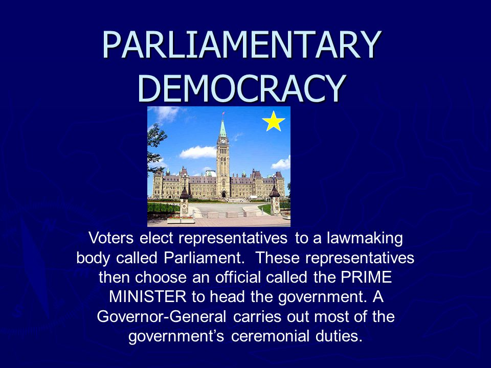 PARLIAMENTARY DEMOCRACY Voters elect representatives to a lawmaking body called Parliament. These representatives then choose an official called the P