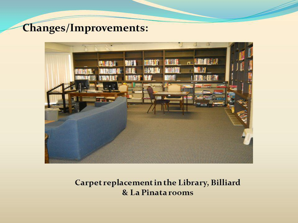 Changes/Improvements: Carpet replacement in the Library, Billiard & La Pinata rooms