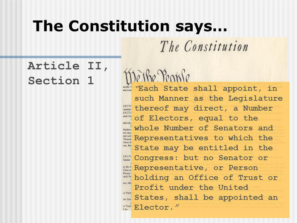 Article II, Section 1 Each State shall appoint, in such Manner as the Legislature thereof may direct, a Number of Electors, equal to the whole Number