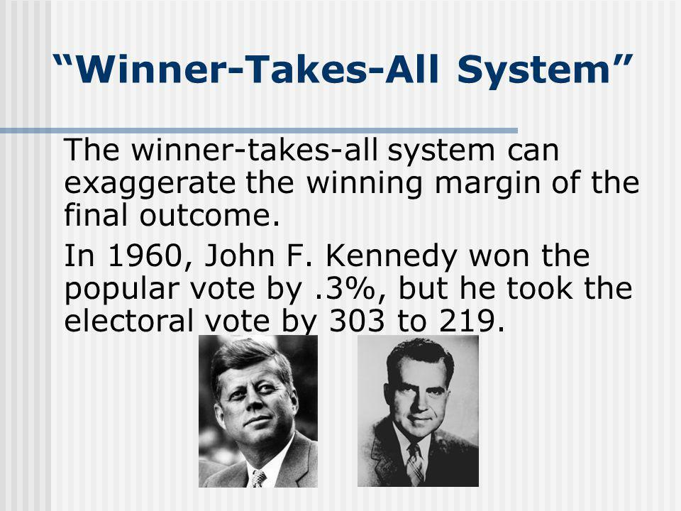 Winner-Takes-All System The winner-takes-all system can exaggerate the winning margin of the final outcome. In 1960, John F. Kennedy won the popular v