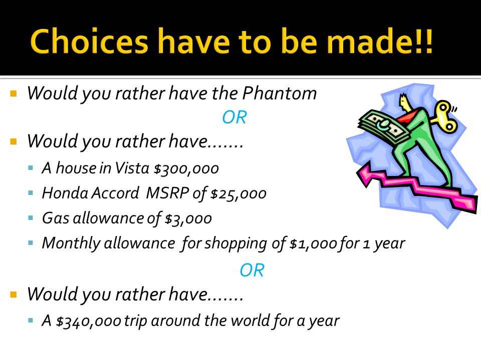 Would you rather have the Phantom OR Would you rather have…….