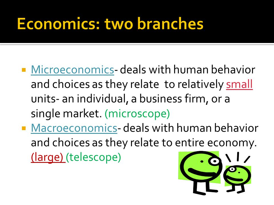 Microeconomics- deals with human behavior and choices as they relate to relatively small units- an individual, a business firm, or a single market.