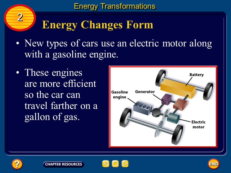 Energy Changes Form Many machines are devices that transform energy from one form to another. For example, an automobile engine transforms the chemica