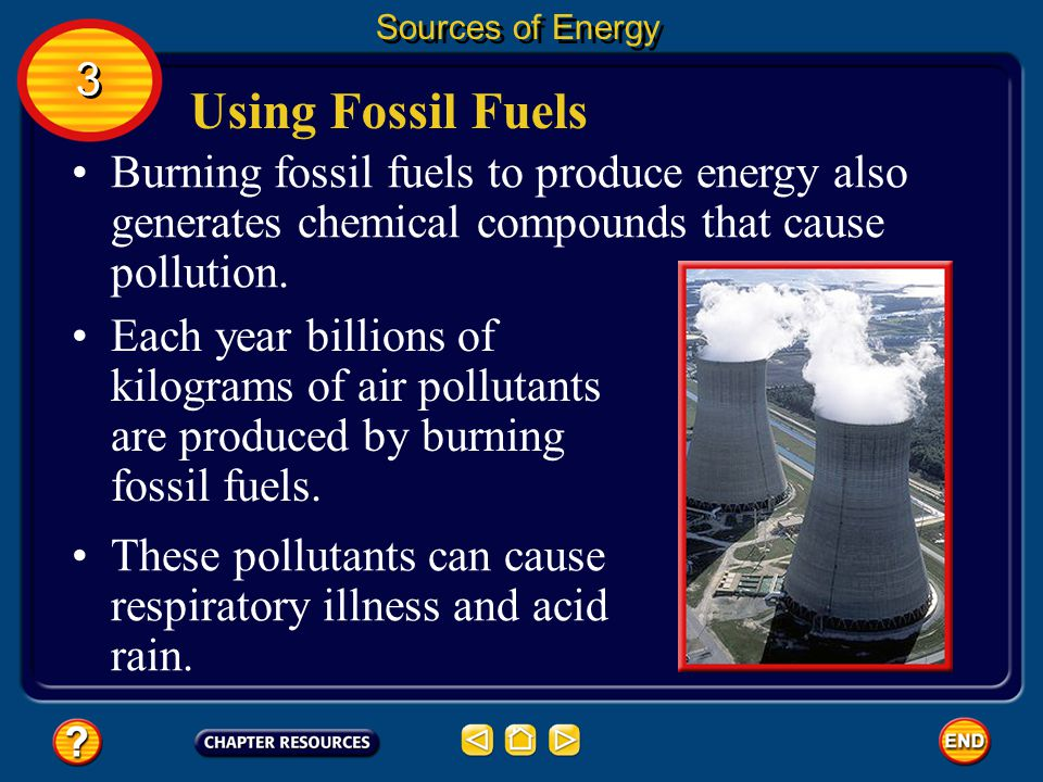 Using Fossil Fuels It takes millions of years to replace each drop of gasoline and each lump of coal that is burned. Sources of Energy 3 3 An energy s