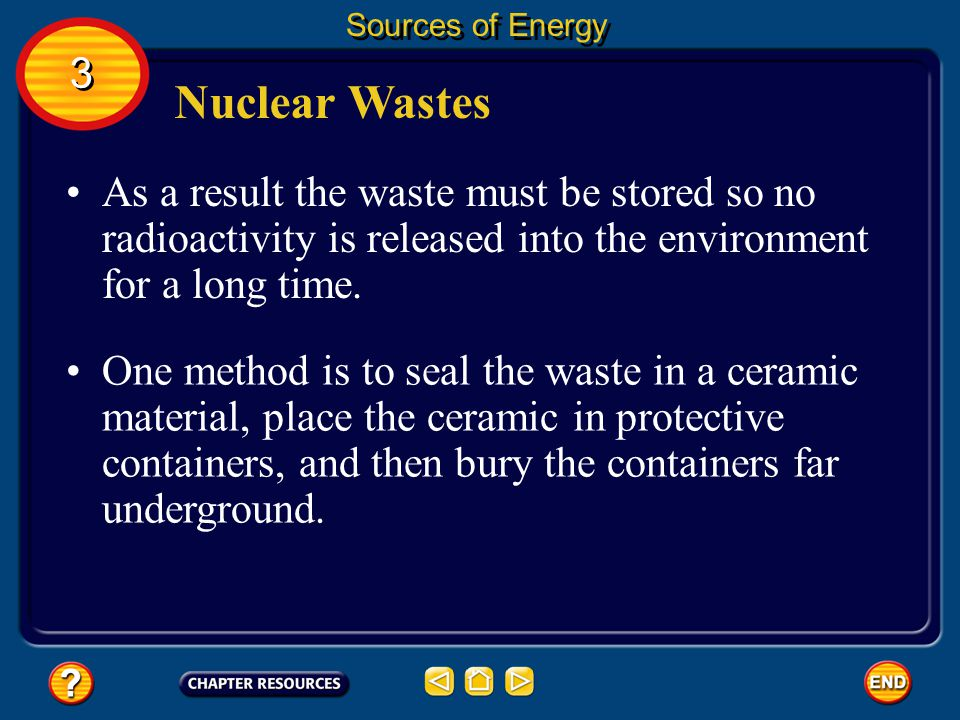 Nuclear Wastes Like all energy sources, nuclear energy has its advantages and disadvantages. Sources of Energy 3 3 One disadvantage is the amount of u