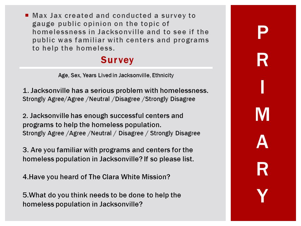 Max Jax created and conducted a survey to gauge public opinion on the topic of homelessness in Jacksonville and to see if the public was familiar with centers and programs to help the homeless.