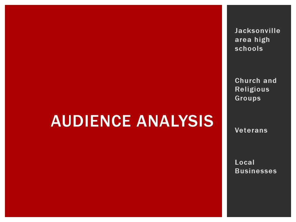 Jacksonville area high schools Church and Religious Groups Veterans Local Businesses AUDIENCE ANALYSIS