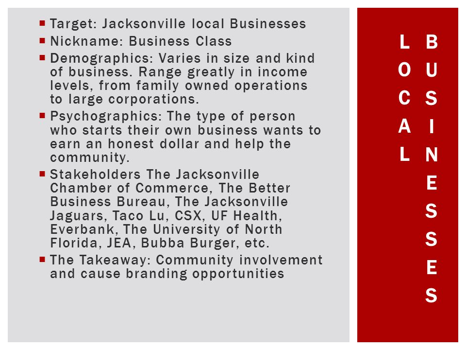 Target: Jacksonville local Businesses Nickname: Business Class Demographics: Varies in size and kind of business.