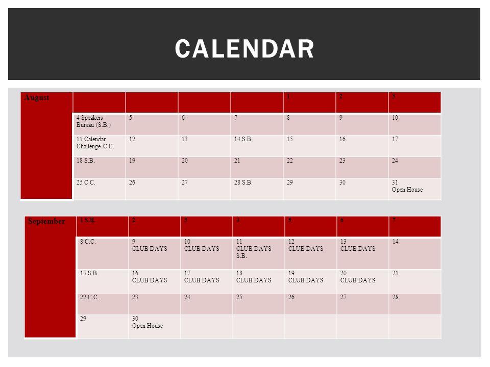 August 123 4 Speakers Bureau (S.B.) 5678910 11 Calendar Challenge C.C.