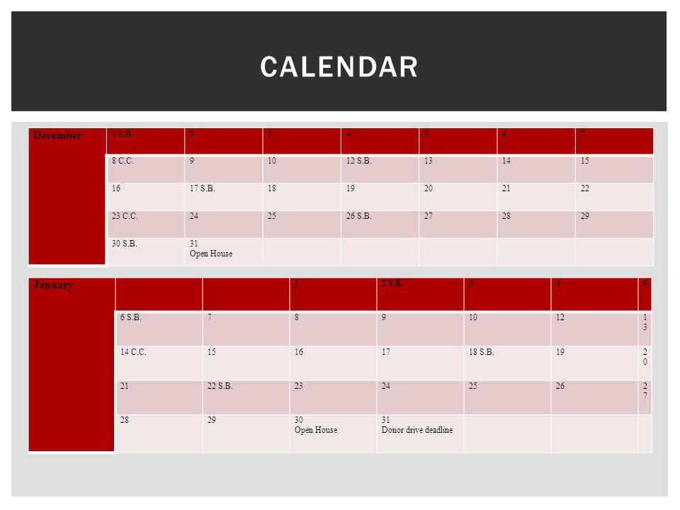 December 1 S.B.234567 8 C.C.91012 S.B.131415 1617 S.B.1819202122 23 C.C.242526 S.B.272829 30 S.B.31 Open House CALENDAR January 12 S.B.345 6 S.B.78910121313 14 C.C.15161718 S.B.192020 2122 S.B.232425262727 282930 Open House 31 Donor drive deadline