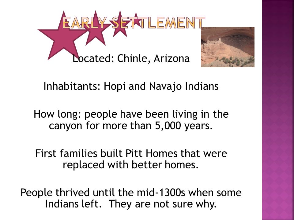 Located: Chinle, Arizona Inhabitants: Hopi and Navajo Indians How long: people have been living in the canyon for more than 5,000 years.