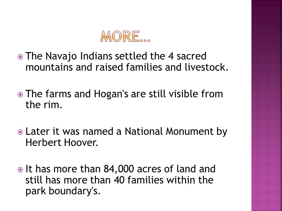 The Navajo Indians settled the 4 sacred mountains and raised families and livestock. The farms and Hogan's are still visible from the rim. Later it wa