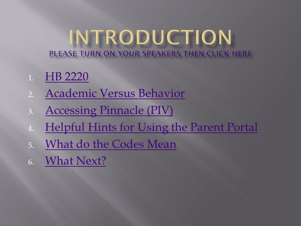 1. HB 2220 HB 2220 2. Academic Versus Behavior Academic Versus Behavior 3.