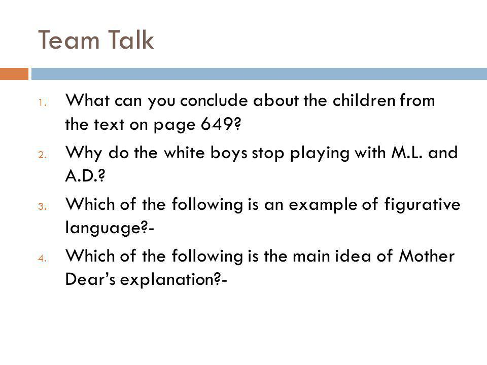 What words did your group clarify? Lets discuss our Team Talk Questions Class Discussion