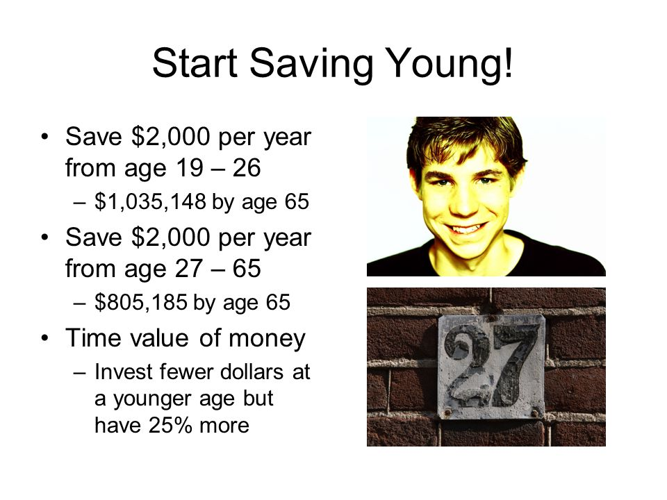 Start Saving Young! Save $2,000 per year from age 19 – 26 –$1,035,148 by age 65 Save $2,000 per year from age 27 – 65 –$805,185 by age 65 Time value o