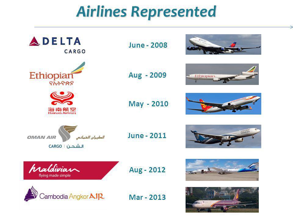 Airlines Represented June - 2008 May - 2010 Aug - 2009 June - 2011 Aug - 2012 Mar - 2013