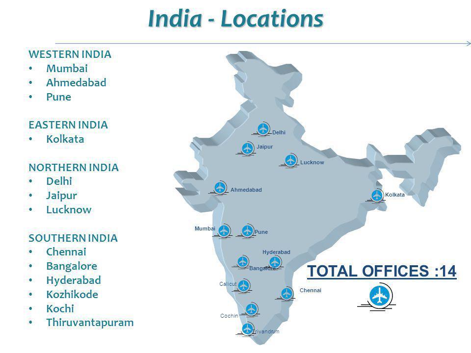 India - Locations WESTERN INDIA Mumbai Ahmedabad Pune EASTERN INDIA Kolkata NORTHERN INDIA Delhi Jaipur Lucknow SOUTHERN INDIA Chennai Bangalore Hyder