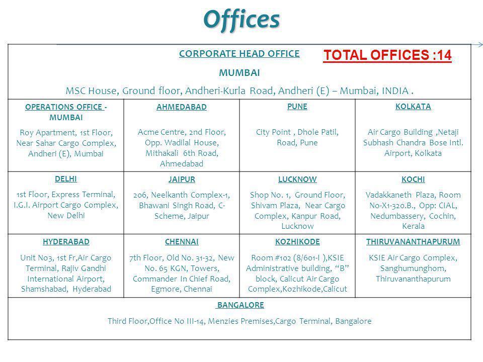 Offices CORPORATE HEAD OFFICE MUMBAI MSC House, Ground floor, Andheri-Kurla Road, Andheri (E) – Mumbai, INDIA. OPERATIONS OFFICE - MUMBAI AHMEDABADPUN