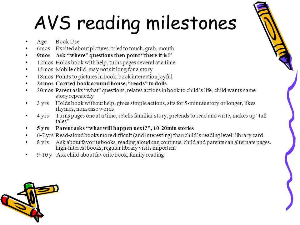 AVS reading milestones AgeBook Use 6mosExcited about pictures, tried to touch, grab, mouth 9mosAsk where questions then point there it is! 12mosHolds