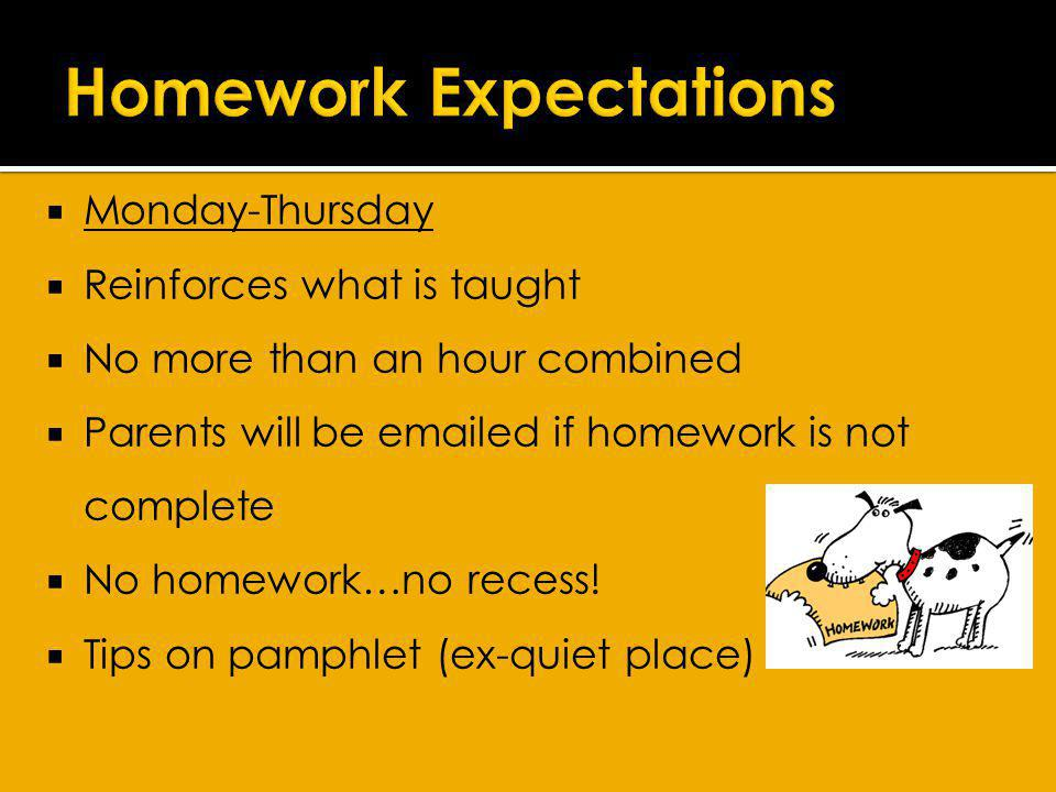 Monday-Thursday Reinforces what is taught No more than an hour combined Parents will be emailed if homework is not complete No homework…no recess.