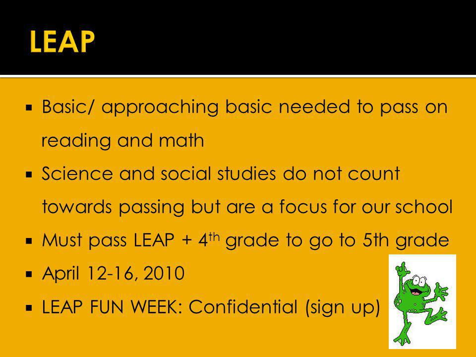 Basic/ approaching basic needed to pass on reading and math Science and social studies do not count towards passing but are a focus for our school Must pass LEAP + 4 th grade to go to 5th grade April 12-16, 2010 LEAP FUN WEEK: Confidential (sign up)