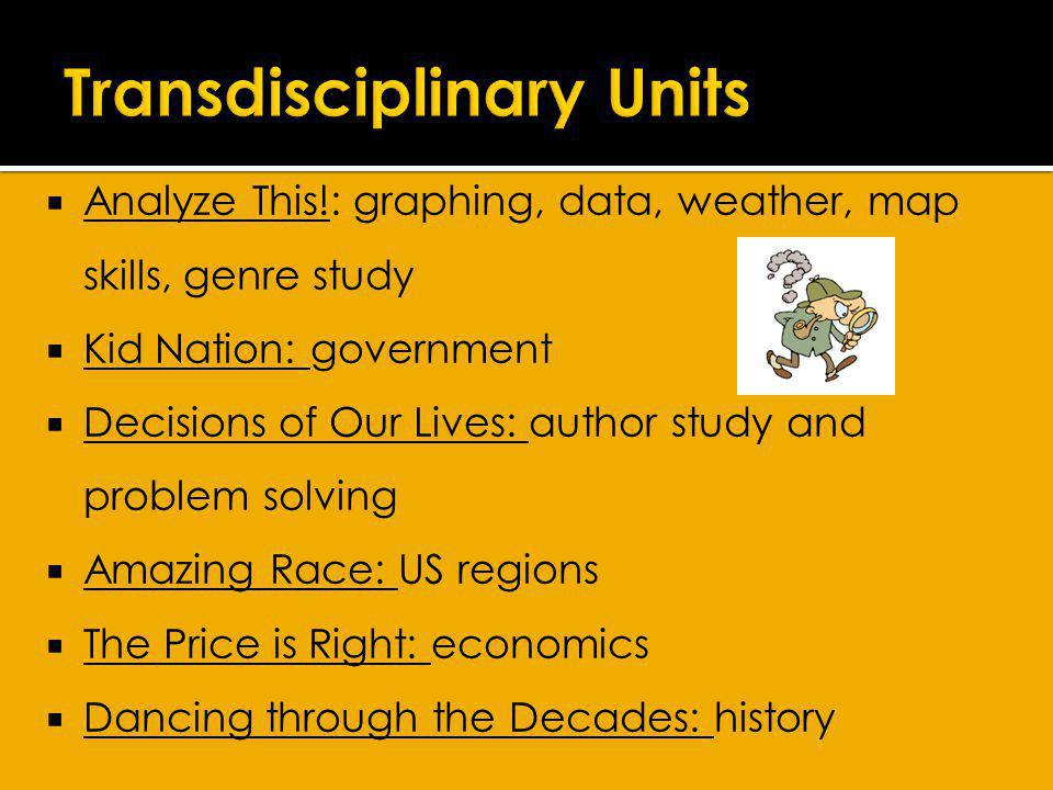 Goal is to have a field trip for each transdisciplinary unit.