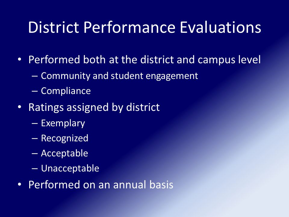 District Performance Evaluations Performed both at the district and campus level – Community and student engagement – Compliance Ratings assigned by district – Exemplary – Recognized – Acceptable – Unacceptable Performed on an annual basis