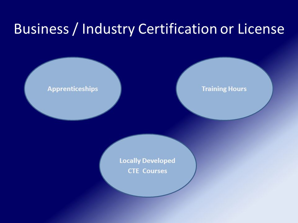 Business / Industry Certification or License Apprenticeships Locally Developed CTE Courses Training Hours