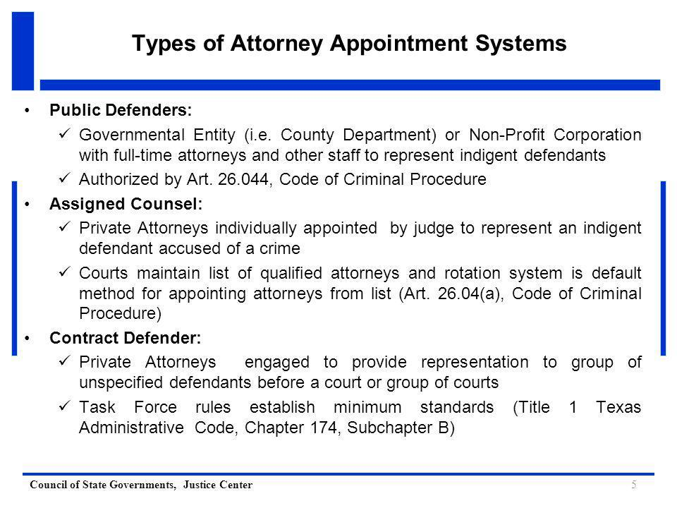 Council of State Governments, Justice Center Timely Appointment Requirements a Critical Component of the Fair Defense Act Arrest Magistration (Request for Counsel Taken) Request for Counsel Received by Appointing Authority Appointing Authority Determines Indigence and Notifies Counsel Appointed Counsel Contacts Clients at Jail 48 hours1 or 3 workdays24 hours1 workday 6